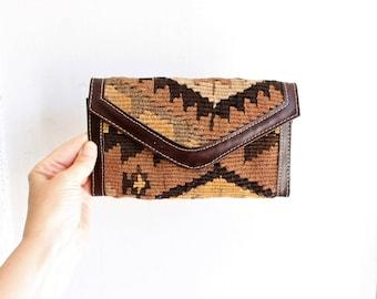 "vintage woven kilim wallet large 7.5"" x 4.5"""