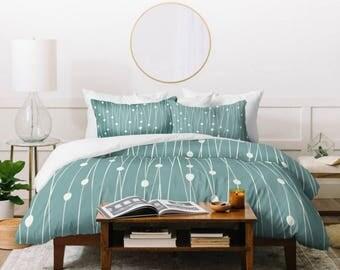 Geometric Duvet Cover // Twin, Queen, King Sizes // Home Decor // Minimalist Decor // Entangled Design // Bedroom // Modern Bedding // Sage