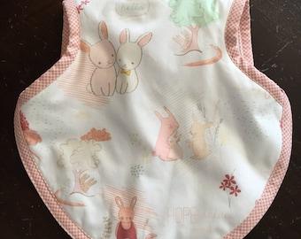 Bibs, baby bib, bapron, girl bib, bunny bib, pastel fabric, tie bib, toddler bib, baby gift, 6-18 months, terry bib, waterproof bib, baby