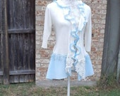 Altered Women's  White and Blue Crocheted Top, Altered Couture,Large, Crepe. lace and crochet bottom, Shabby Chic Sweater, Romantic Sweater
