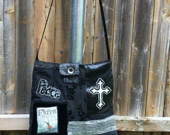 """Silver and Black Handmade Christian Patchwork Crossbody Bag, Eco  Friendly Bag, Shoulder Bag, """"Jesus is Allive"""".Sling Bag, Chirstian Bag"""