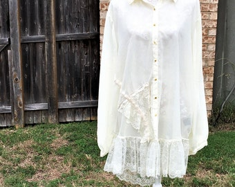 Altered Women's Sheer Creme Lace Tunic and lace  ruffled bottom, Altered Couture,Size 3X, Plus Top,  Shabby Chic,Romantic Blouse, Gold Trim