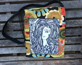 Art Crossbody Body, Doodle Collage Faith Tote, Handmade Art Bag, Fabric Sling Bag, Cross Body Bag, Inspiration Tote, Sling Bag, Jesus Bag