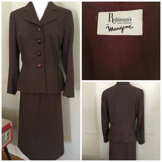 Designer 1950s Robinson's California by Mangone Classic Dark Brown Suit- Fitted Jacket with Matching Skirt-M L