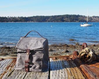Large Waxed Canvas, Cordura, and Leather Reusable Insulated Lunch Bag