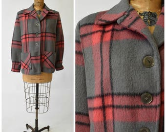 40s Gray & Pink Plaid Wool Jacket by Buck Skein Brand // Boxy Cut, Structured Shoulders // Cozy Fall Winter Fashion