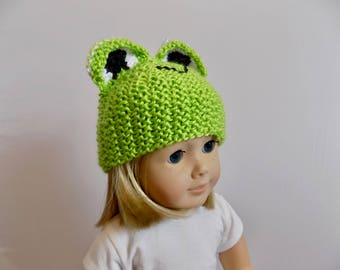 Doll Hat, Frog Doll Hat, 18 Inch Doll Costume, 18 Inch Doll Hat, Green Frog Hat, Knit Frog Hat, Knit Animal Hat, Doll Beanie, Toys