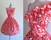 RESERVED for T. Vintage 1950s Hawaiian Hibiscus Print Poppy Red Cotton Dress with 3-D Shoulder Floral Appliques