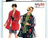 Vintage Burda Plus 4520 Women's Swing Coat Jacket Unlined with Raglan Sleeves UNCUT Sewing Pattern Sizes 18 20 22 24 26 28 L XL Bust 39-50