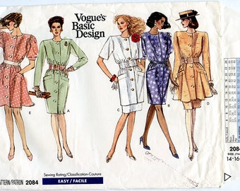 Vintage Vogue Basic Design 2084 Women's Dress, Tunic and Skirt UNCUT Sewing Pattern - Sizes 14-16-18 Bust 36 38 40