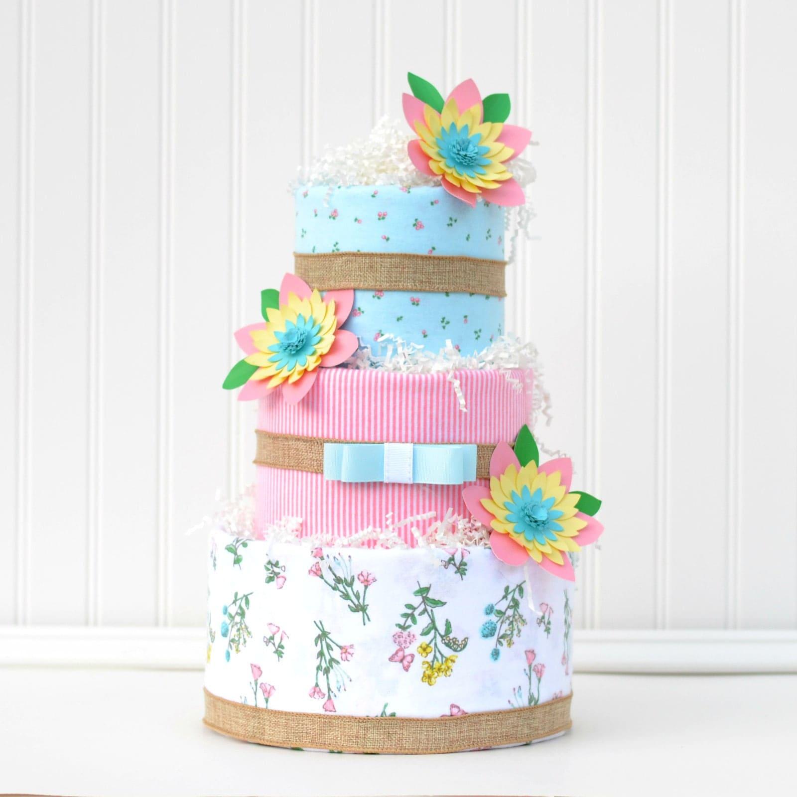 Paper Flower Baby Shower Cake Shabby Chic Baby Shower Burlap