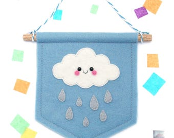 White Cloud on Blue Banner, Felt Flag, Weather Gift, Kawaii Present, Gift under 20