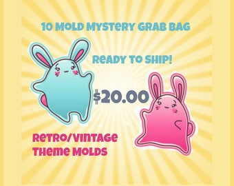 SALE Limited Quantity! 10 Mystery Mold Grab Bag-Retro/Vintage Theme Handmade Plastic Molds