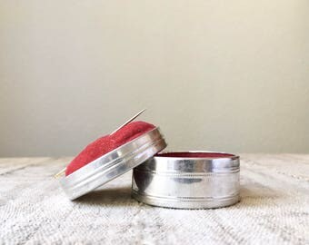 Vintage Tin and Velvet Pin Cushion, Stash Box for Sewing Notions