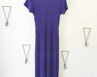 90's Deep Violet Ribbed Dress