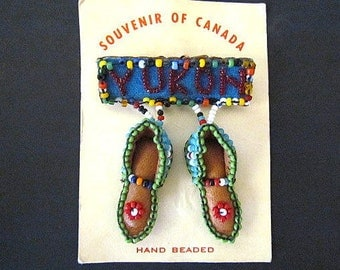 Vintage Souvenir of Yukon Canada Hand Beaded Leather Moccasins Brooch