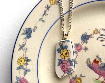Broken china jewelry - china pendant necklace with chain - antique china shard pendant - yellow rose pink rose - made from a broken plate