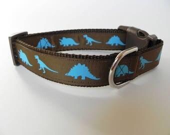 Brown Dinosaur Dog Collar