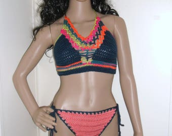 Crochet Bikini Set, crochet swimwear, swimwear, bathing suits, crochet swimsuits, beachwear, crochet bikini set, in beautiful multi colors