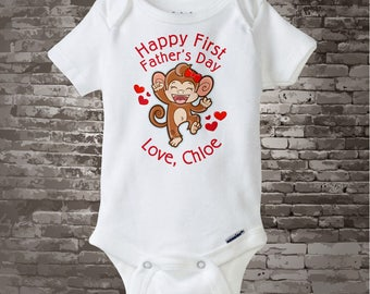 Happy First Father's Day Onesie, personalized with the child's name and has a cute little monkey in the design 05252017b