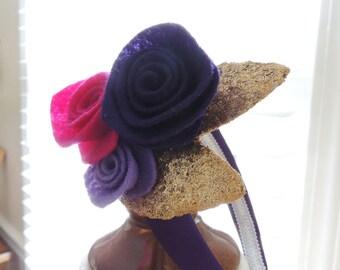 HEADBAND FOR GIRLS Felt Flower Headband Little Girl Head Band Hairbands Headpiece Big Girls Pink Purple Gold Glitter Hair Accessories