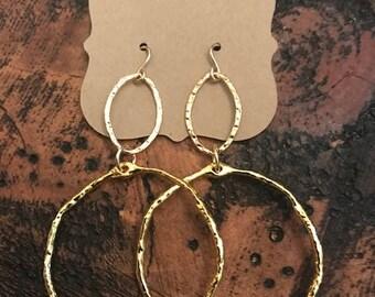 two tier open circle earrings