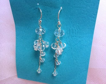 Crystal drop earrings CASCADE- Cluster drop earrings, bridal jewelry,wedding,bridal earrings,Swarovski earrings