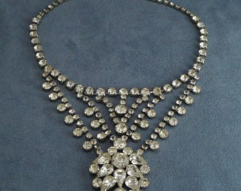 Magnificent Rhinestone Bib Necklace Vintage Dangling Chevrons & Flower