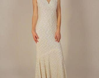 Vintage White Sequin Mermaid Bridal Dress