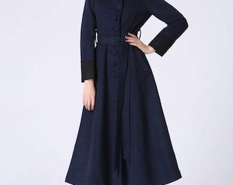 long trench coat, navy coat, elegant coat, wool coat, warm coat, custom made, maxi coat with waist band, winter coat, gift ideas (1061)