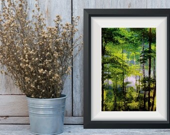 Forest Print, Birch Trees Decor, Wall Decor, Wisconsin Woods Green Nature, Chartreuse Decor, Tree Oil Painting, Gift For Her, Tree Print