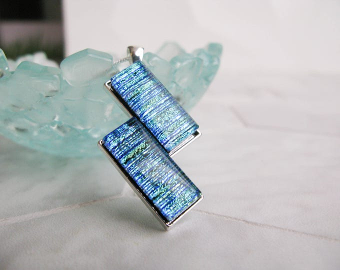 Fused Glass, dichroic glass, unique pendant, bar pendant, rectangle, tall necklace, statement piece, Glass Necklace, Handmade Glass Pendant