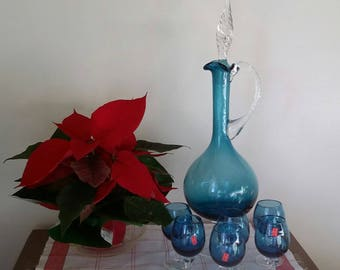 Vtg Blown Blue Italian Twisted Glass 8 Pc Spirit Sherry Cordial Decanter Set Empoli?