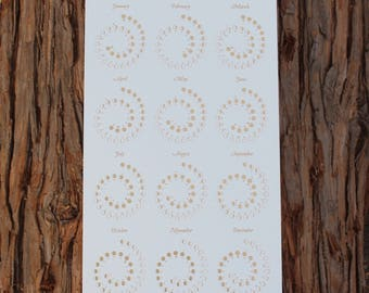 2018 Small Moon Calendar - Gold Foil on Pearl White Edition