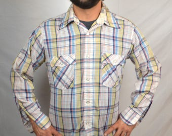 Vintage Levis Western Button Up Plaid Shirt