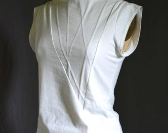 White Shirt, Geometric, Triangle Top, Cotton Jersey, short sleeve, modern style- made to order, one of a kind