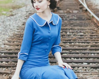Joelle 50s vintage fit and flare rockabilly dress inspired custom made