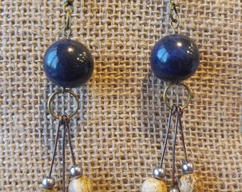Charming boho blue and honey brown natural stone drop earrings