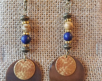 Darling Bohemian natural stone beads, brass and bronze metal circles dangle earrings.