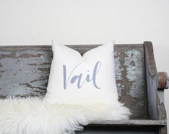 "18""x18"" Ivory Linen with Gray Ink ""Vail"" Pillow Cover 