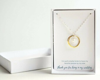 Personalized Bridesmaid Gift - Wedding Gift for Aunt - White Pearl Bridesmaid Necklace - Gift for Mom from Bride - Wedding Gift for Daughter