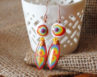 Rainbow Earrings, Colorful Earrings, Elongated Teardrop Earrings, Abstract Earrings, Hand Painted Earrings, Pebeo Jewelry, Artisan Jewelry