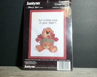 Janlynn Suzys Zoo NIP Counted Cross Stitch Teddy Bear Kit / 1987 Love in Your Heart Counted Cross Stitch with Frame Kit by Suzy Spafford