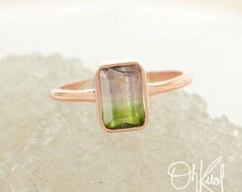 Light Pink and Lime Green Tourmaline Ring - Watermelon Tourmaline Ring - Heirloom Ring