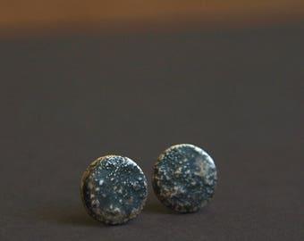 Moon Earrings   Silver Disc Stud Earrings   Full Moon Earrings   Space Jewellery   Luna Earrings   Handmade in Silver