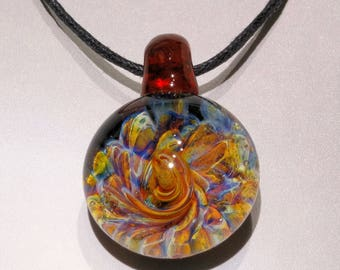 Blown Glass Pendant ~ Burst of Color Necklace ~ Blown Glass Art ~ Jewelry ~ Focal Bead ~ Trippy Pendant (BC597D)