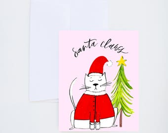 Holiday Greeting Cards - Santa Claws - Christmas Kitty Illustration - Single A-2 Card