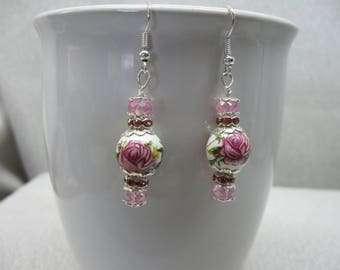 Dangle Earrings With Pink Roses Embellished with Crystals