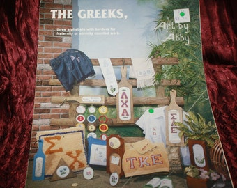 vintage pattern The Greeks three alphabets for fraternity or sorority
