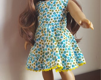 18 inch Doll Dress, Fits American Girl, Green & Blue Floral Dress with Yellow Trim